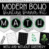 Modern Boho Black and White w/ Greenery Editable Banner Bunting Letters
