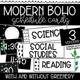 Modern Boho Black and White w/ Greenery Editable Schedule Cards