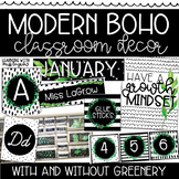 Modern Boho Black and White with Greenery Classroom Decor Theme
