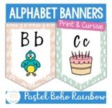 Modern Boho Pastel Rainbow Alphabet Banners in Print and Cursive