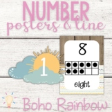 Modern Boho Pastel Rainbow Number Posters and Line