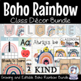 Modern Boho Rainbow Class Decor Bundle | EDITABLE and GROWING