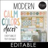 Modern Calm Colors Classroom Decor Editable