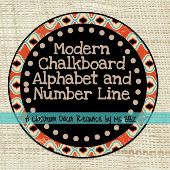 Modern Chalkboard Word Wall Alphabet and Number Line Numbers