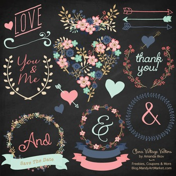 Modern Chic Floral Heart Clipart