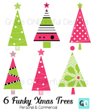 Christmas Clipart: Modern Christmas Trees, Pink and Lime Green