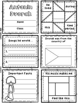 Modern Composers Quilt Worksheets (Set 1)