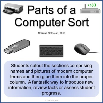 Modern Computer Parts Cutout and Sort Grades 3-4 Current Terms