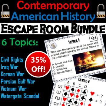 Modern/ Contemporary American History Escape Room Social Studies Bundle