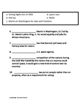 Modern Culture: 20th Century Civil Rights Movement ASSESSMENT
