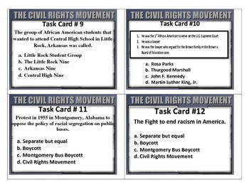 Modern Culture: 20th Century Civil Rights Movement TASK CARDS 5th SS