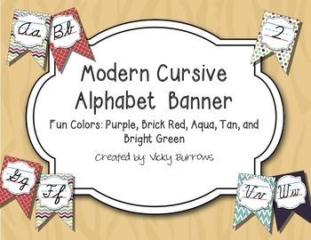 Modern Cursive Alphabet Banner in Fun Colors
