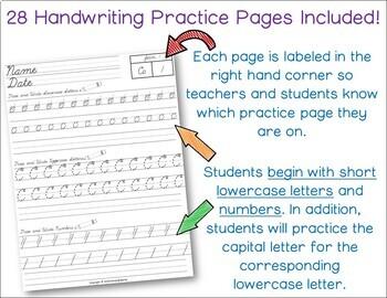 Modern Cursive Writing Pack - Handwriting Practice {D'Nealian Cursive}