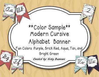 Modern Cursvie Alphabet Banner in Fun Colors- Color Sample