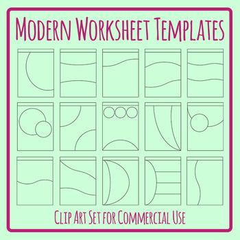 Modern Curved Worksheet Templates Clip Art Set for Commercial Use