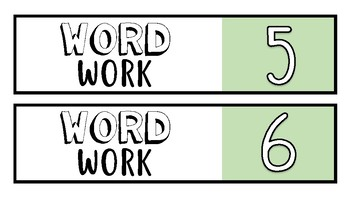 Modern Daily 5 Work on Writing, Word Work, & Days of the Week 10-Drawer Labels