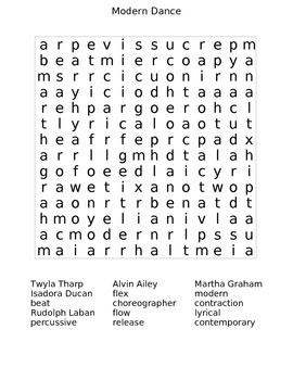 Modern Dance Wordsearch