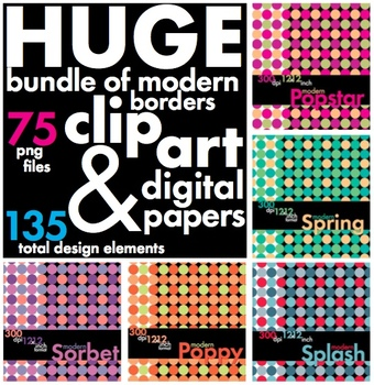 Modern Design Bundle of Clip Art, Borders & Backgrounds – Tons of Options!