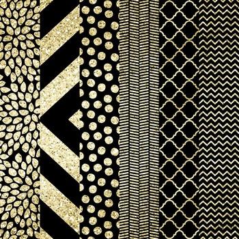 Modern Digital Paper Set {BLACK + GOLD FOIL}