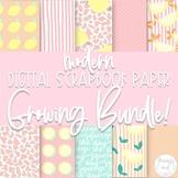 "Modern Digital Scrapbook Paper GROWING BUNDLE | 12"" x 12"""