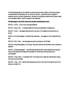 Modern Drama Scripts with Rubric for Evaluation