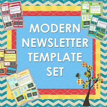 modern easy to use newsletter templates set of 14 tpt