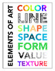 Modern Elements of Art Printable Poster in Two Sizes, Art Education Vocabulary
