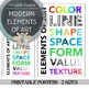 Modern Elements of Art Printable Posters and Labels: 9 Posters + Titles
