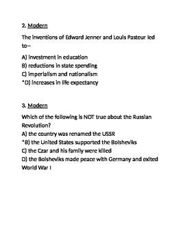 Modern Era Exam - for Respondus (World Civilizations II)