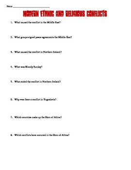 Modern Ethnic & Religious Conflicts Reading Worksheet
