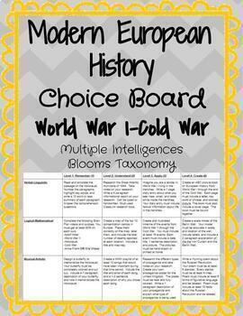 Modern European History Choice Board