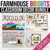Modern Farmhouse Classroom Decor Bundle EDITABLE