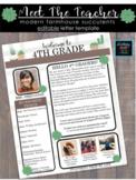 Modern Farmhouse Succulents Welcome & Meet The Teacher Letter (Editable!)
