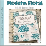 Modern Floral Editable Teacher Binder / Lesson Planner