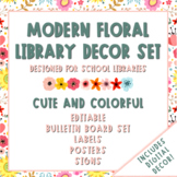 Modern Floral School Library Decor Bundle | Print + Digital Decor