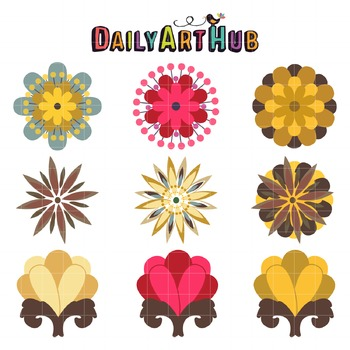 Modern Flowers Clip Art - Great for Art Class Projects!