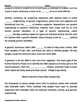 Modern Genetics Cloze Notes