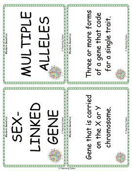 Modern Genetics Vocabulary Cards