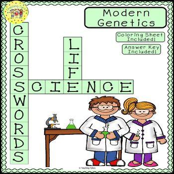 Modern Genetics Science Crossword Puzzle Coloring Worksheet Middle School