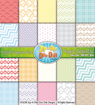 Modern Geometric Digital Scrapbook Pack (Rainbow Pastel) — Includes 100 Pages!