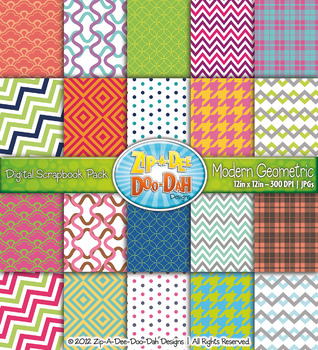 Modern Geometric Digital Scrapbook Pack (Two-Toned) — Includes 200 Pages!