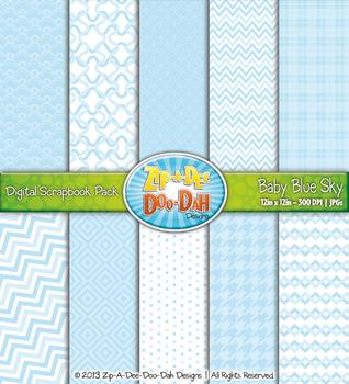 Modern Geometric Patterns Digital Scrapbook Pack - Baby Bl