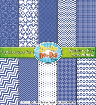 Modern Geometric Patterns Digital Scrapbook Pack - Blueber