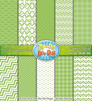 Modern Geometric Patterns Digital Scrapbook Pack - Green A