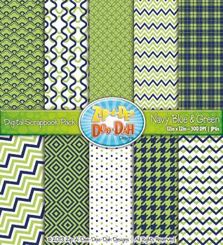 Modern Geometric Patterns Digital Scrapbook Pack — Navy Bl