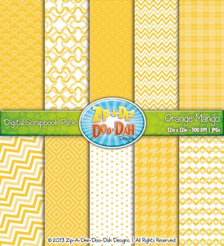 Modern Geometric Patterns Digital Scrapbook Pack - Orange