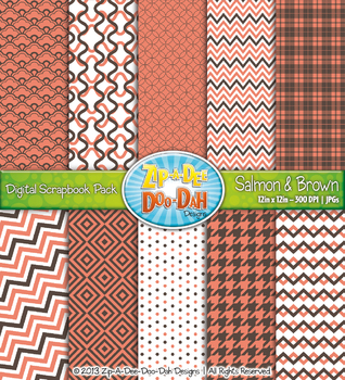 Modern Geometric Patterns Digital Scrapbook Pack — Salmon