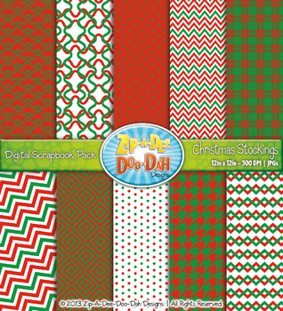Modern Geometric Patterns Scrapbook Pack - Christmas Stock