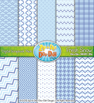Modern Geometric Patterns Scrapbook Pack - Fresh Snow (10 Pages)