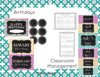 Classroom Decor - Pink, Teal, Yellow, and Gray (editable) - Primary Grades
